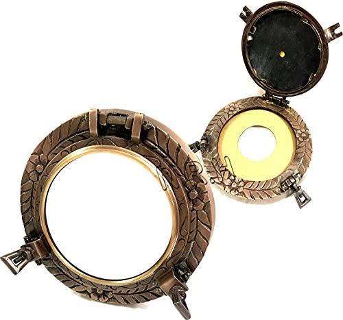 Espejo para ventana redonda con diseño de ojo de buey de cobre antiguo para barco náutico o barco de cristal de buey para decoración del hogar
