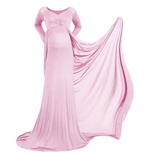 Vestido de embarazo, vestido contratación, embarazada, fotografía, accesorios para mujer, largo gasa, la maternidad, sesiones foto, elegante, boda, noche Rosa. M
