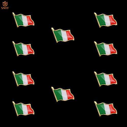 10 Stück Euro Italien Flagge Brosche Pin Revers Rucksack/Krawatte Abzeichen Icons Pin für Jahr Dekoration Geschenk