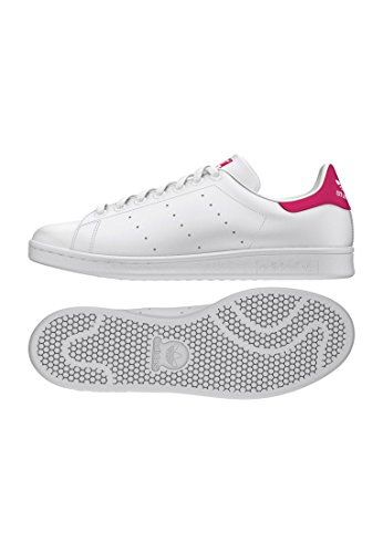 adidas Stan Smith J, Zapatillas Unisex Adulto, Blanco (Footwear White/Footwear White/Bold Pink 0), 38 EU