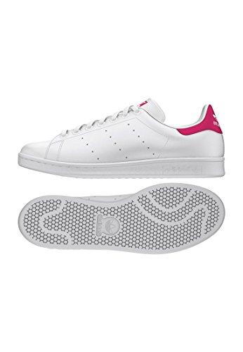 adidas Stan Smith J, Zapatillas Unisex Adulto, Blanco (Footwear White/Footwear White/Bold Pink 0), 38 EU