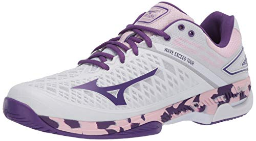 Mizuno Women's Wave Exceed Tour 4 All Court Tennis Shoe, Whitepurple, 9 B