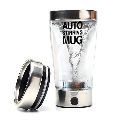 GOOACTION Stainless Steel Trim Transparent Self Stirring Coffee Mug Protein Shaker Bottle Portable Mixing Cup Electric Automatic Milk and Juice Mixing Mugs 400ml/13.5oz