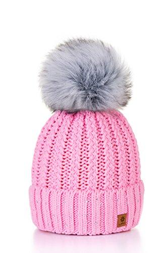 4sold Damen Wurm Winter Style Beanie Strickmütze Mütze mit Fellbommel Bommelmütze Hat Ski Snowboard Pelz Bommel Pompon Kreis Kleine Kristalle Crystals (Rosa)