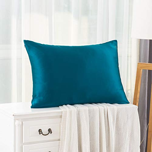 Ethlomoer 100% Natural Pure Silk Pillowcase for Hair and Skin, Both Side 19mm, Hypoallergenic, 600 Thread Count, Luxury Smooth Satin Pillowcase with Hidden Zipper, 50x75 cm, Peacock blue