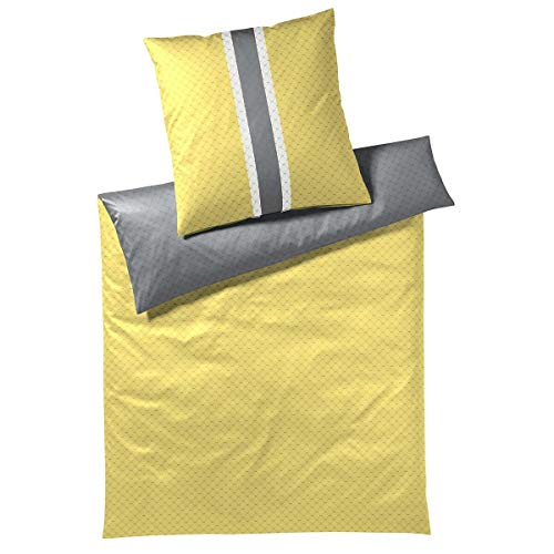 Joop! Signature Lemon Flash - Juego de cama, algodón, Lemon Flash, 1 Bettbezug 140 x 200 cm + 1 Kissenbezug 70 x 90