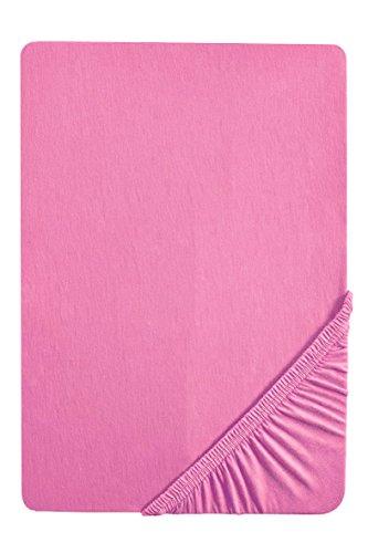 biberna 0077144 Feinjersey Spannbetttuch (Matratzenhöhe max. 22 cm) (Baumwolle) 90x190 cm -> 100x200 cm, pink