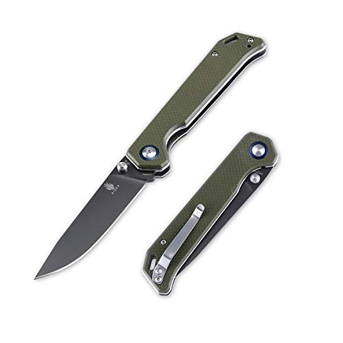Kizer Cutlery Begleiter Folding Pocket Knife Liner Lock Green G10 Handles Knife, Begleiter V4458A2