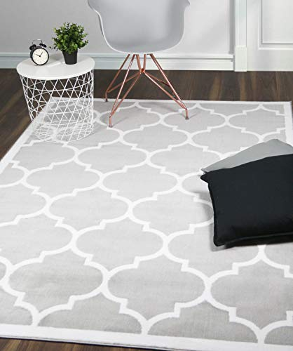 A2Z Rug|Trendy 5307 Moroccan Geometric Silver Grey White Border Pattern|Living Room Dining Room Area Rug|Soft Short Pile|160x230cm-5'3' x7'7''ft|Trellis Medium carpet