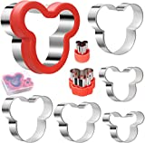 Jasonsy Mickey Mouse Cookie Cutter Set,Mickey Mouse Head Shape Stainless Steel Biscuit Cutters Mold Suitable for Cakes Cookies Fondant Pancake and Sandwiches (8 Pcs)