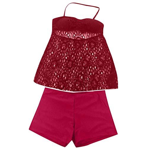 Traje de baño de dos piezas para mujer, sexy con cuello abierto, con falda de bikini dividida, sexy sin espalda - Rojo - XXX-Large