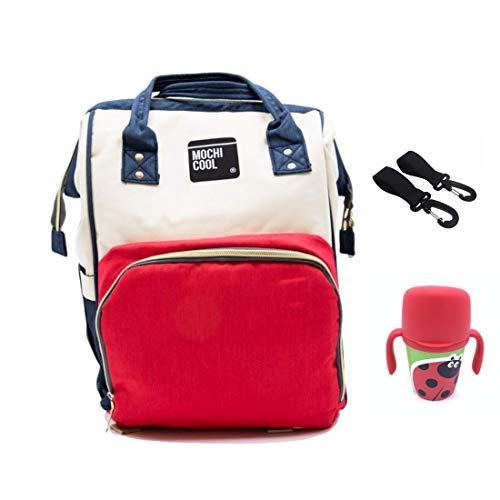 MOCHI COOL Mochila maternidad bebe para pañales, biberones y apta para carro bebe, mochila bolso carro bebe cuna, impermeable pañalera - Bolso de viaje gran capacidad  Bebedor agua