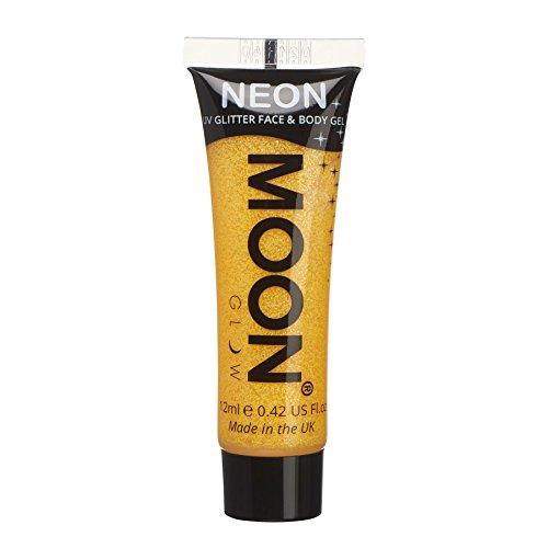 Moon Glow - Gel facial y corporal con purpurina neón UV - 12 ml Amarillo Dorado - Pintura facial con purpurina