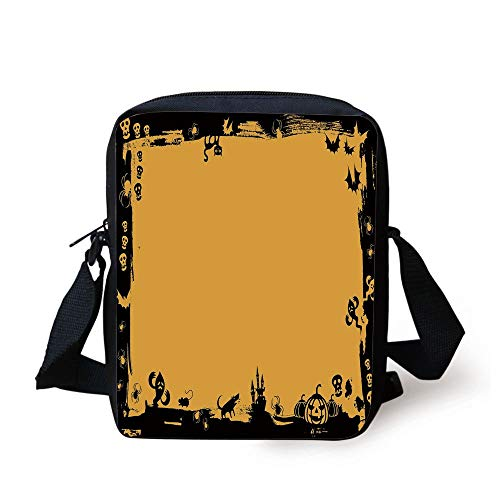 KLYDH Halloween,Black Framework Borders with Halloween Icons Cats Bats Skulls Ghosts Spiders Decorative,Yellow Black Print Kids Crossbody Messenger Bag Purse