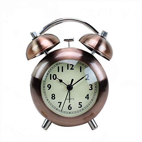 WyaengHai Despertador Batería Silencioso Reloj De Cabecera Hueco Marcando Adornos No Residencial Retro Habitación Doble Campana del Reloj De Alarma (Color : Bronze, Size : 10.2x5x14cm)