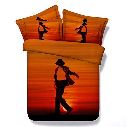 RoyalLinens, set di biancheria da letto classico nero e rosso Michael Jackson, 3 pezzi, verde/arancione, regalo per amici e parenti., Jf294, Single size 3pcs