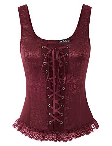 Womens Gothic Corset Vest Top Renaissance Lace Up Tank Top Wine M