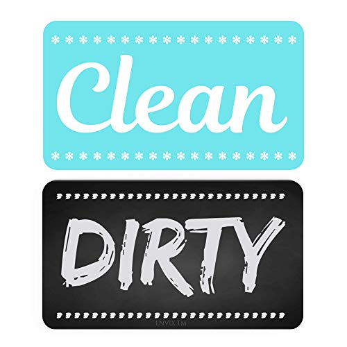 ENVIX Dishwasher Magnet Clean Dirty Sign Double Sided Magnet Flip with Magnetic Plate Kitchen Dish Washer Reversible Indicator Aqua Chalk