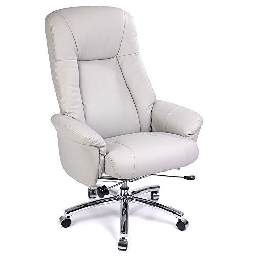 GOLDEN BEACH Executive Office High Back Boss Office Chair Thick Padded Reclining Office Chair Desk Chair with PU (Light Grey) -  XQ Boy, EC-01