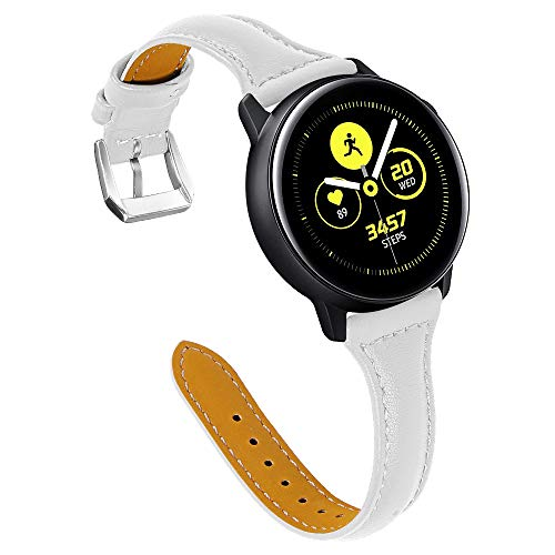XZZTX Lederen Band Compatibel met voor Samsung Galaxy Watch 42mm 46mm Bands, Lederen Quick Release 20mm Horlogeband Compatibel voor Galaxy Watch Active Smartwatch