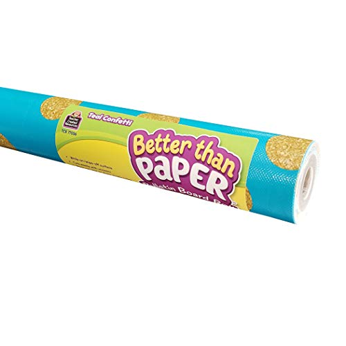 Teacher Created Resources Better Than Paper Bulletin Board Roll, 4' x 12', Teal Confetti, Pack of 4