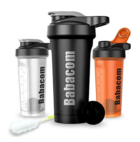 Shaker Protein Shaker Water Bottle with Blender Ball Cleaning Brush 28OZ / 700ML Water Bottle for Sports and Fitness People BPA Free
