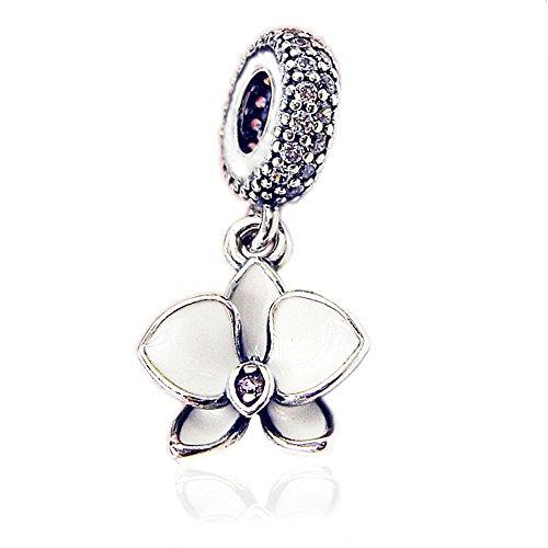 Cooltaste - Ciondolo a forma di orchidea bianca, per braccialetti originali Pandora, in argento 925, per gioielli alla moda