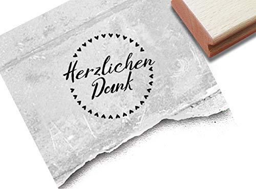 Stempel Herzlichen Dank mit Herzen - Textstempel rund Dankeschön Danksagung Gastgeschenk Karten Geschenkanhänger Basteln Deko Scrapbook - zAcheR-fineT
