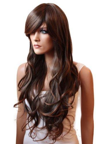 PRETTYSHOP Unisexe Perruque Pleine Cheveux Longs Fibres Synthétiques Résistant à La Chaleur Ondulé Volumineux brun Mix # 30/2 FS836b