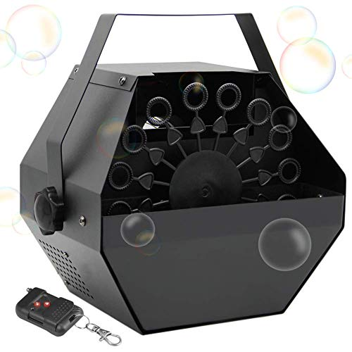 ATDAWN Metal Portable Bubbles Machine, Professional Automatic Bubble Maker with High Output for Outdoor/Indoor Use, Wireless Remote Control (Black)