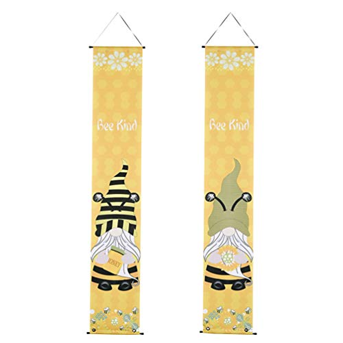 Amosfun 1 Pair Welcome Bee Happy Porch Banner Spring Swedish Gnome Front Door Sign Decoration Party Supply