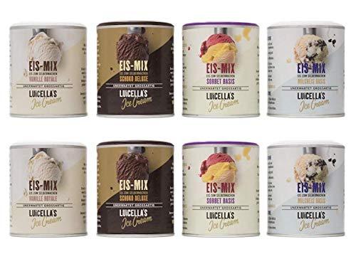 Luicella's 8er Sparpaket Eis-Mix - Zahl 6 bekomm 8 - 100% natürliches Eispulver zur Herstellung von Premium Speiseeis