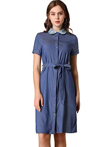 Allegra K Vestido Camisero Vaquero con Cinturón Peter Pan Collar Manga Corta para Mujeres Azul Oscuro S