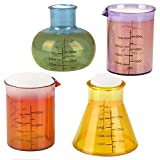 ArtCreativity Chemistry Beaker Glass Set, 4 Plastic Laboratory Glasses, Funny Scientific Gifts for Adults, Cool Chemistry Graduation Gag Gift, Unique Drinking Gifts for Men and Women