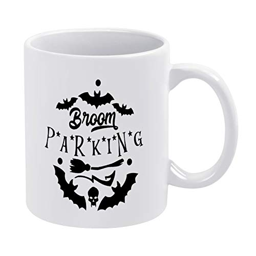 Tasse mit Besen Parkplatz, schwarz, Geschenk für Männer, Frauen, Freunde, Geburtstag, 325 ml, weiße Keramik-Tasse