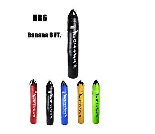 Fairtex Heavy Bag HB6 6FT Banana Black Blue RED Green Yellow Muay Thai Kickboxing K1 MMA Fighting UNFilled Black