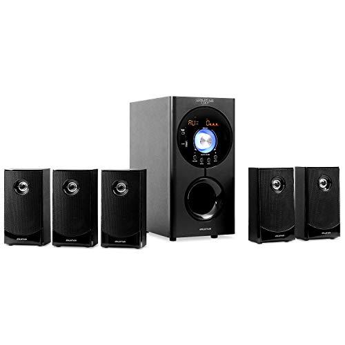 "auna Concept 620 - Sistema Sonido Envolvente 5.1 , Home Cinema , Surround , 95 W RMS , Subwoofer emisión Lateral 6,5"" , Bass Reflex , 5 Altavoces satélite , USB , Tarjeta SD , AUX , Bluetooth , Negro"