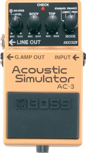 BOSS AC-3 Acoustic Simulator Pedal, Four Simulation Modes: Standard, Jumbo, Enhanced, and Piezo-Equipped