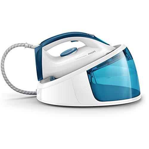 Philips Centro de planchado GC6722/20 - Plancha ropa más rápido con el doble de vapor, autoapagado, tamaño compacto, suela cerámica, 5.2 bares, golpe de vapor 300 gr, azul