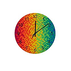 Kuizee Wooden Wall Clock Colorful Pixel Color Gradient Rainbow Uncovered Silent Decoration Home Office Bedroom School 12Inch