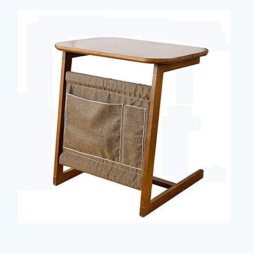AYHa Mesita, de madera maciza mesa auxiliar con bolsa de almacenamiento, Mesa de café, Sofá lado,...