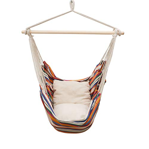 AMANKA Balcony Hanging Chair with 2 Reversible Cushions - Rainbow Stripes - Outdoor Swing for Garden