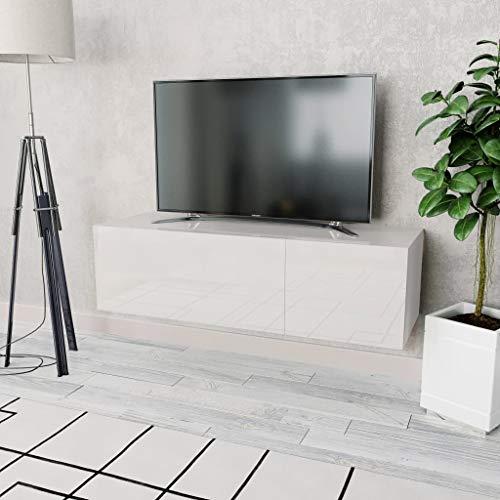 GOTOTOP Mobile Porta TV con 2 Scomparti Dotati di Porte ad Apertura Verticale 120 x 40 x 34 cm Mobile Basso per TV Elegante e Moderno in Truciolato e Bordi in PVC -Bianco Lucido + Bianco Opaco