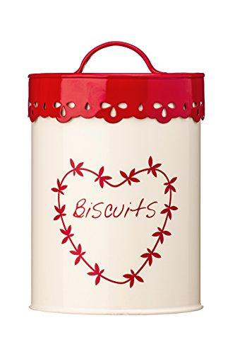 Premier Housewares - Recipiente con Tapa para Galletas, Color Crema y Rojo