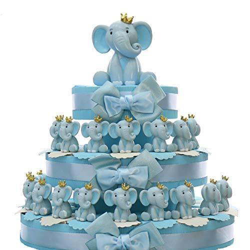 Viale Magico Elefantino Bimbo Statuina con Corona Torta Bomboniere Nascita Pensierini Primo Compleanno Originali Bimbo (Torta da 35 Pezzi)