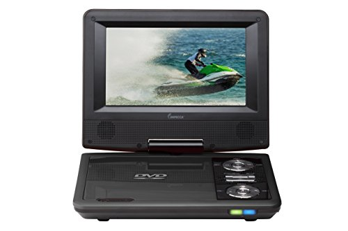 Best Deals! Impecca DVP775K 7 Inch Swivel Screen, Portable DVD Player, with Rechargeable Battery, SD...