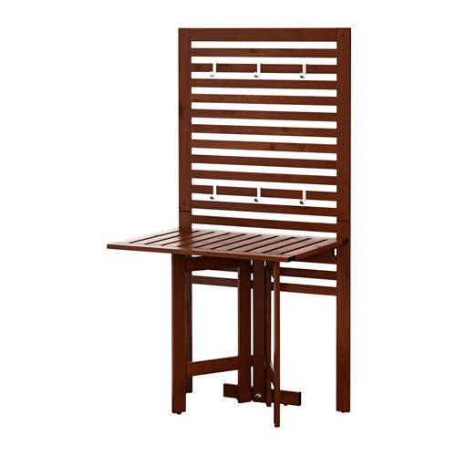 Durable ÄPPLARÖ Ikea Panel de pared + mesa de puerta para exteriores, color marrón tintado