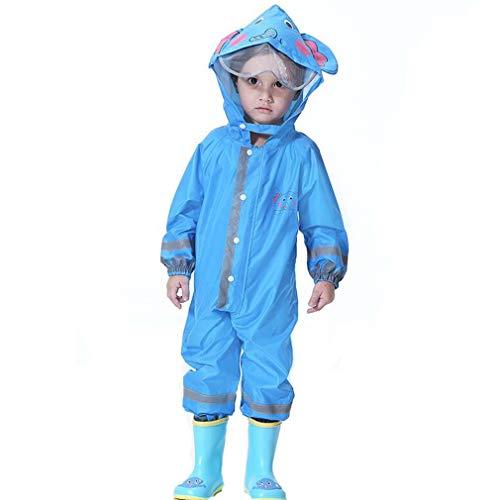 Wetry Kinder Regenanzug Wasserdicht Regenoverall Regenmantel - Jungen Mädchen Regenkleidung Regenjacke Karikatur Regenponcho für Schule,Fussball,Wandern 80-130CM