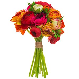 SilksAreForever 11″ Silk Ranunculus Flower Bouquet -Orange/Red (Pack of 6)