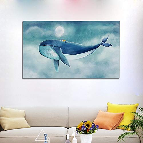 Carteles de pintura en lienzo de ballena azul carteles e impresiones de animales de dibujos animados decoración del hogar pintura de pared decoración de la habitación de los niños 60X90 Sin marco